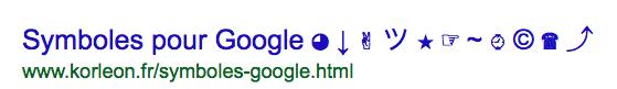 Symboles pour Google