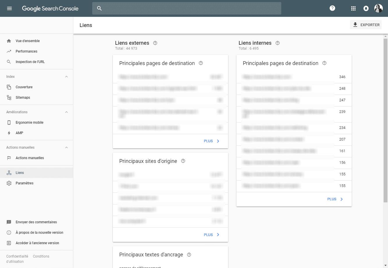 Google Search Console : Liens internes et externes