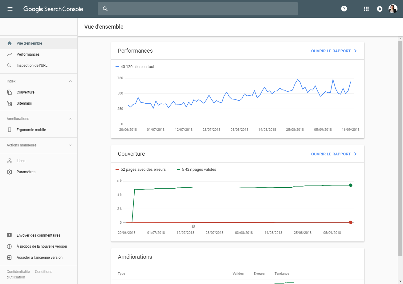 Google Search Console : Vue d'ensemble